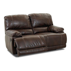 Klaussner Furniture - Darius Reclining Loveseat, Hudson Brown - The loveseat comes with solid foundation and easy, push button mechanisms that make reclining easy and smooth. Hudson Brown leather-like upholstery is completed with accent stitching.