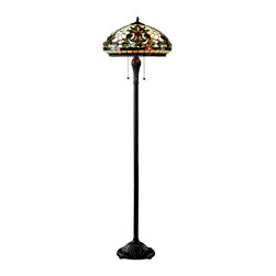 Z-Lite - Z-Lite 3 Light Floor Lamp - This floor lamp pale cream, dome shaped shades with unique patterns using motifs of green and red accents to create a traditional look with a bold edge. Intricately designed hardware finished in chestnut bronze complete this look.
