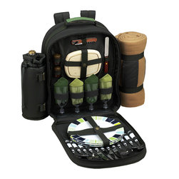 Picnic at Ascot - Forest Green Four-Person Eco Picnic Backpack & Blanket - Soak up the sun with this fully stocked picnicking set made entirely of environmentally friendly, PVC-free materials. The lightweight backpack is packed with flatware, plates and napkins for four, plus a blanket and fine-dining essentials like a corkscrew, cutting board and salt and pepper shakers with non-spill tops. Ergonomic straps, an insulated cooler compartment, antique brass hardware and a detachable wine holder ensure easy picnicking.   Includes backpack, combination corkscrew, wooden cutting board and salt and pepper shakers, four acrylic wine glasses, four melamine plates, four sets of stainless steel flatware, four cotton napkins and an acrylic blanket Backpack: 15.5'' W x 21'' H x 6.5'' D Blanket: 50'' x 60'' Backpack: 600-denier polycanvas / brass hardware Dishes, flatware and glasses: dishwasher safe Blanket and napkins: machine wash Imported