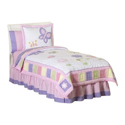 Sweet Jojo Designs - Butterfly Pink and Lavender Bedding Set Twin (4-Piece) - The Butterfly Pink and Lavender Bedding Set by Sweet Jojo Designs will help you create an incredible room for your child. This butterfly bedding set features detailed embroidery and applique of butterflies and flowers that create a cute garden-themed nursery. This set uses the stylish colors of Pink, Purple, Yellow and sage Green. This set uses 100% cotton fabrics that are machine washable for easy care. This set comes in twin and Queen sizes. The twin bedding set is a 4-piece set that comes with a comforter, pillow sham, bed skirt, and window valance. The queen bedding set is a 3-piece set that comes with a comforter and 2 pillow shams.