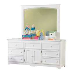 Atlantic Furniture - Atlantic Furniture Manhattan 7 Drawer Triple Dresser in White - Atlantic Furniture - Dressers - C71762 - The Manhattan Seven Drawer Triple Dresser is an attractive and spacious solution to your bedroom storage needs. With seven spacious drawers surrounding a dual-door central compartment and an appealing plank-style side panel design, the Manhattan will fit well into an updated traditional decor.