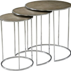 Nesting Tables - Stainless steel tables, the circular tops each inset with embossed grey shagreen leather. Inspired by Art Deco originals.