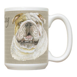 520-Bulldog Mug - 15 oz. Ceramic Mug. Dishwasher and microwave safe It has a large handle that's easy to hold.  Makes a great gift!
