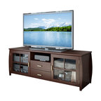 Sonax - Sonax Washington Espresso TV Bench in Espresso Stained Real Wood Finish - Sonax - TV Stands - WB1609 - Warm up your home with the rich Espresso Stained Real Wood finish of this TV Bench from the Washington Collection. With ample storage space for all of your A/V components this piece is the ideal focal point in any room. Featuring shaker style tempered glass doors and our quiet Euro Glide drawers this TV stand compliments any space effortlessly. Bring home this contemporary furniture by Sonax.Features: