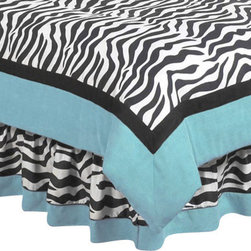 Sweet Jojo Designs - Blue Zebra Bedskirt Queen - The Blue Zebra Bed Skirt by Sweet Jojo Designs helps complete the look of your room. This skirt, or dust ruffle, adds the finishing touch while conveniently hiding under-the-bed storage.