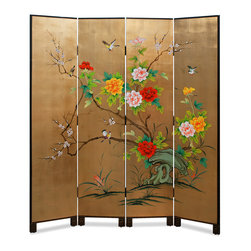 """China Furniture and Arts - Gold Leaf Bird, Flower, and Bamboo Motif Floor Screen - Hand painted on a gold-leaf surface on one side, vibrant peony flowers and birds adorn the surface of each panel. A great piece for artistic decoration, it can also function as a room divider. The feet of each panel are decorated with a gold spiral pattern. On the other side, gold bamboo trees set on a black matte background are softly painted. Each panel is 15.75""""W."""