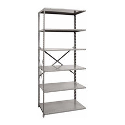 Hallowell - 87 in. High 6-Tier Heavy-Duty Open Shelving in Gray - Adder (36 in. W x 18 in. D - Depth: 36 in. W x 18 in. D x 87 in. H. Whether you use it alone or pair it with coordinating units, this durable six-tier shelving unit will be a functional way to add storage space in an office supply room, a home workshop or anywhere where shelves and storage are needed. Made of cold rolled steel, the shelving is braced and features one open side for versatility. Great addition to Hi-Tech heavy-duty open shelving starter unit. Open style with sway braces. 6 Adjustable shelves. Fabricated from cold rolled steel. Welds are spaced 3 in. on center to provide maximum strength. Sides are triple flanged to form a channel. All 4 corners are lapped and resistance welded to provide a rigid corner and add extra strength to the shelf. Tubular front edge is designed to protect against impact loads. 36 in. W x 12 in. D x 87 in. H. 36 in. W x 18 in. D x 87 in. H. 36 in. W x 24 in. D x 87 in. H. Assembly required. 1-Year warranty