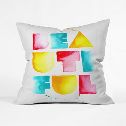Be-Autiful Watercolor Pillow Cover - Wake up each morning feeling beautiful with this refreshing woven poly throw pillow cover. With its juicy primary-colored block letters with the distinct texture of watercolor painting, it's a sweet choice for your bed or sofa.