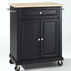 Crosley Furniture - Natural Wood Top Portable Kitchen Cart - 1 Adjustable shelf. 1 Drawer. 2 Beautiful raised panel doors. 2 Towel Bars. 2 Heavy duty locking casters for stability. Wood top with Natural finish. Solid hardwood and veneer construction. Hand rubbed multi-step finish. Brushed Nickel hardware and White finish. Assembly required. 1-Year manufacturer's warranty. 28.25 in. L x 18 in. W x 36 in. H (82.2 lbs.)