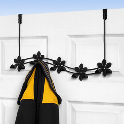 Hooks & Racks - Add extra storage to any room in your home with the Flower Over the Door 5-Hook Rack. Two petals on each flower curve up to form sturdy hooks to hang your hats, coats and other accessories in a functional and stylish way. Made of sturdy steel, the flexible bracket fits doors up to 2-1/4'' thick.