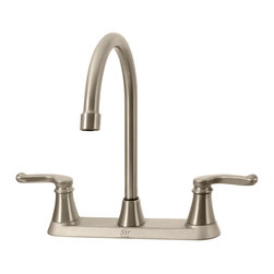 MR Direct - MR Direct 7142 Double Handle Faucet, Brushed Nickel - The 7142 Double Handle Faucet features long smooth curves that will add a touch of class to any kitchen. The graceful handles compliment the tall curve of the swiveling spout. Available in either a chrome or brushed nickel finish this unit is tested to perform properly for the long haul. ADA approved and backed by out limited lifetime warranty is proof that this is a quality faucet. A matching spray hose is optional.