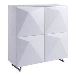 Great Angles Cabinet - We love the slick pyramidal design on these cabinet doors. They give a distinct fashionable edge to its sleek, glossy white exterior. It's compact enough for use in just about any room, but provides ample storage wherever it's needed.