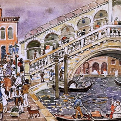 """Maurice Prendergast Rialto Bridge (The Rialto Bridge, Venice) Print - 16"""" x 24"""" Maurice Prendergast Rialto Bridge (also known as The Rialto Bridge, Venice) premium archival print reproduced to meet museum quality standards. Our museum quality archival prints are produced using high-precision print technology for a more accurate reproduction printed on high quality, heavyweight matte presentation paper with fade-resistant, archival inks. Our progressive business model allows us to offer works of art to you at the best wholesale pricing, significantly less than art gallery prices, affordable to all. This line of artwork is produced with extra white border space (if you choose to have it framed, for your framer to work with to frame properly or utilize a larger mat and/or frame).  We present a comprehensive collection of exceptional art reproductions byMaurice Prendergast."""