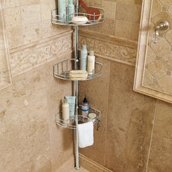 """Frontgate - Tension-mount Shower Butler - Frontgate - Corrosion-resistant stainless steel. Each basket is multipurpose. One basket features an integrated soap dish with drain holes. A second basket is open-ended so long-handle brushes or loofahs can rest horizontally. A third basket has a bar for hanging washcloths and 2 razor holders. Our Tension-mount Shower Butler exceeds others by offering more strength, more space, and more features for increased functionality. This shower organizer features three deep 3-1/2""""H baskets to securely contain heavier, larger shampoos, pump soaps, and gels.. . . . . Spring-tension mounting offers easy, one person installation. 1x mirror is reversible and provides razor storage (accessory sold separately). Pole expands from 5'4-1/4"""" to 9'6-3/4' tall to accommodate most showers. View assembly instructions (PDF format)."""