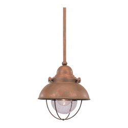 Sea Gull Lighting - Sea Gull Lighting 6150-44 Sebring Transitional Outdoor Mini Pendant Light - Eye-catching style, in a brushed stainless and weathered copper finish over solid brass. Clear seeded glass adds just the right sparkle.