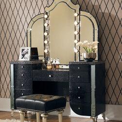 Hollywood Swank 3 Piece Vanity Set in Black - 3 Piece Vanity Set (Vanity, Mirror & Bench)