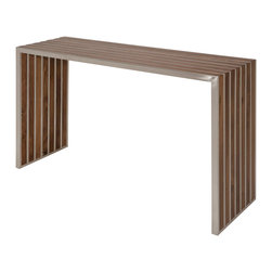 Kathy Kuo Home - Holden Stainless Steel Walnut Wood Slatted Modern Console - L - Eclectic and modern, this grand, rectangular console table will welcome and delight your guests. Slatted, American walnut alternates with brushed stainless steel for a perfect, parallel piece of art. Both Industrial and Modern, this sleek, stylish sofa table becomes a focal point in any room.