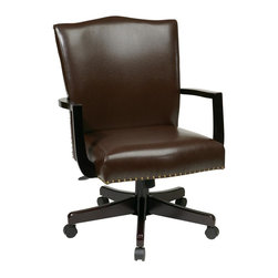 INSPIRED by Bassett - Managers Chair in Dark Espresso - Thick padded eco leather seat and back. Nail head details. Pneumatic seat height adjustment. Locking tilt control with adjustable tilt tension. Steel reinforced wood base with dual wheel carpet casters. Residential use only. Made from wood. Assembly required. Back: 20 in. W x 25 in. H. Seat: 20.75 in. W x 19.5 in. D. Overall: 25 in. W x 27 in. D x 45 in. HThe perfect addition to any office or conference room, this managers chair upgrades your style and professionalism to the next level.