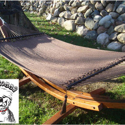 """Buyers Choice - Phat Tommy Grand Super Soft Handwoven Hammock - Whether you are relaxing by the pool or enjoying a romantic evening under the stars, this rope hammock provides a perfect refuge from the busy world around you. Our top of the line PHAT TOMMY hammocks are made with thick hand woven braided super soft polyester rope and are strong enough to hold up to 520 lbs! PHAT TOMMY hammocks require no assembly and are easy to hang. Features: -Made of hand woven thick braided super soft polyester rope. -50"""" Spreader bar maximizes your comfort. -Soft spun polyester is resistant to mold and mildew and soft to the touch. -Holds up to 520lbs. -Hammock requires a 15' stand or 15' between trees to hang properly. -Stand not included. -Dimensions: 132"""" L x 50"""" W."""