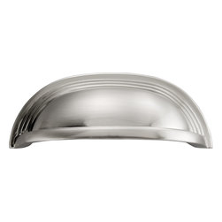 """Hickory Hardware - Deco Satin Nickel Cabinet Cup Pull, 3 25/32"""" - Often characterized with clean, sleek lines. Marked with solid colors, predominantly muted neutrals or bold bunches of color. An emphasis on basic shapes and forms."""