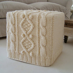 Knitted Ottoman Slipcover by BiscuitScout - A perfect way to add subtle texture and warmth to a room, this hand-knit ottoman slipcover is versatile enough to work in both traditional and modern homes. Available in several colors. Base available at an extra cost.