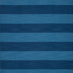 Jaipur Rugs - Flat Weave Stripe Pattern Blue Wool Handmade Rug - PV36, 2x3 - Bold color is the name of the game with Pura Vida. This beautiful collection of durable, reversible flat-woven dhurries combines the classic simplicity of linear patterns with a decidedly modern palette for a look that's at once casual and sophisticated.