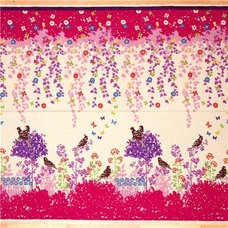 fabric echino canvas fabric Wish pink birds flowers