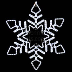 "EnvironmentalLights - Chevron 30"" LED Snowflake Mot146 - This big, beautiful 30"" LED Snowflake adds sparkle to your holiday decorations. Bright and colorful. 30 inches wide by 30 inches long. Energy-efficient: only 21 Watts consumed. Cord is about 70 inches long. Easy installation using suction cup hooks or ties (see companion parts nearby) or other fasteners. Premium UV-LED rope light. Top quality long-life LEDs, spaced 1 inch apart. Indoor/Outdoor. Dims well on the dimmers listed as companion parts. All-weather powder coated steel frame."