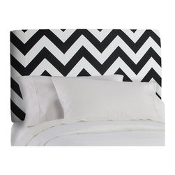 "Skyline - ""Skyline Furniture Twin Upholstered Headboard, Zig Zag Black/white"" - ""The classic silhouette of this headboard makes it perfect for any room. Upholstered in fun, fashion forward fabrics and it's plush foam, this headboard anything but ordinary. Made in the USA. Attaches to any standard bed frame.Assembled Dimensions, Twin:41W x 4D x 51HAssembled Dimensions, Full:56W x 4D x 51H"""