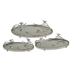 Uttermost - Uttermost Birds on a Limb Tray X-01791 - Antiqued, silver champagne metal frames and details with plain mirrors for the tray bases. Sizes: Small-15 x 4 x 9, Medium-18 x 4 x 11, Large-21 x 5 x 13