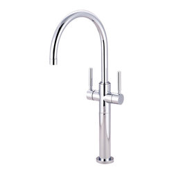 Kingston Brass - Two Handle Vessel Sink Faucet - The double lever vessel sink faucet emits a sleek, simple design that coordinates well with any sink to choose from. Its glamorous presence, as well as its functionality makes it a focal point in the bathroom.