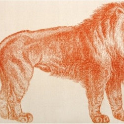 Thomas Paul Lion Bath Mat - Thomas Paul's proud lion bath mat acts as the perfect graphic punch for any powder room.