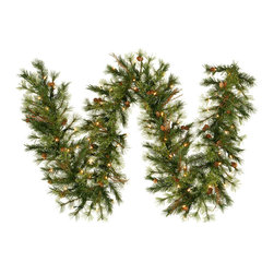 """Vickerman - Mixed Country Garland 70CL (9' x 12"""") - 9' X 12"""" Prelit Mixed Country Pine Garland with Grapevines and 51 Real Pine Cones. 200 Tips and 70 Clear Dura-Lit Mini Lights."""