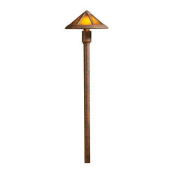 Kichler 1-Light Landscape Fixture - Textured Tannery Bronze - One light landscape fixture. A mica finished glass shade is paired with a textured tannery bronze finish on. This lighting outdoor path light. The finishes accentuate the lines of the fixture, which features clear arts and crafts/mission styled influencing.