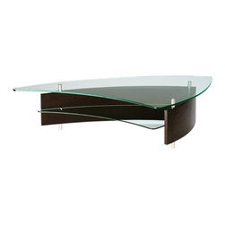 BDI - BDI Fin Coffee Table - The Fin Coffee Table by BDI is a sculptural piece reminiscent of the fin of a surfboard. The table combines legs made of steel, a shelf and table top made of glass, and a triangular body made of wood. Two wood stain options are available.