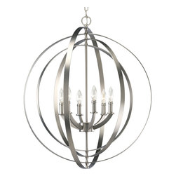 Progress Lighting - Progress Lighting Equinox Six-Light Hall & Foyer - 6-light large pendant with interlocking rings inspired by ancient astronomy armillary spheres.