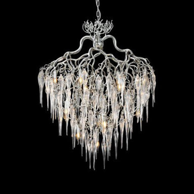 Hollywood Round Glass Chandelier by Brand Van Egmond - Hollywood Round Glass Chandelier is breaking with tradition by hand-crafting wires of steel and accenting them with glass icicles. Finishes available in black, nickel and white. Also available in an oval shape version. Chandelier comes in four different widths: 23, 31, 39, and 47 inches. Require (8), (12), (16), or (20) 25 watt, 120 volt, B10 candelabra incandescent lamps not included (23 inch version requires 8 bulbs). General light distribution. Made in the Netherlands.  23.6W x 29.5H, 31.4W x 39.3H, 39W x 49.2H, or 47.2W x 59H. Fixture weighs 97lbs, requires special rated junction box for fixtures 50+ lbs.