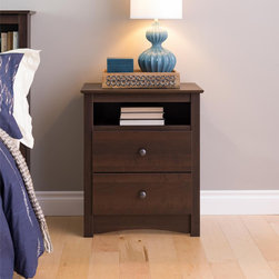 None - Ellsworth Espresso Tall 2-drawer Night Stand - This espresso two-drawer night stand is a functional and attractive addition for your bedroom.  Featuring an open shelf that is perfect for bedside reading and two full-sized drawers,this trendy night stand will provide ample storage space.