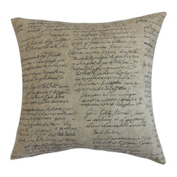 "The Pillow Collection - Garman Typography Pillow Graphite 18"" x 18"" - Reinvent your decor style by adding this unique accent pillow. This decor pillow is simple, yet unconventional with its cursive script design. This typography pillow adds a contemporary twist to your interiors with its unusual pattern. Mix and match this square pillow with bright solids for a gorgeous contrast. This 18"" pillow features shades of gray and neutral. Made from a blend of 90% cotton, 5% rayon and 5% felt fabrics. Hidden zipper closure for easy cover removal.  Knife edge finish on all four sides.  Reversible pillow with the same fabric on the back side.  Spot cleaning suggested."