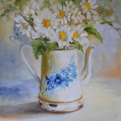 Oil Paintings by Cheri - Daisies and Enamelware Pitcher Still Life Painting - 11x14x.75 Oil Painting on Stretched Canvas