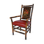 """Genesee River - Rustic Hickory Floral Arm Chair - Tenoned hickory frame arm chair with cotton floral fabric in brown, greens, pinks and yellows on back of chair, seat is faux red leather.  Seat height is 19"""" from floor. Bench made in Pennsylvania."""