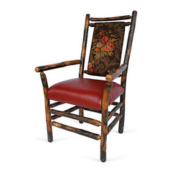 "Genesee River - Rustic Hickory Floral Armchair - Tenoned hickory frame arm chair with cotton floral fabric in brown, greens, pinks and yellows on back of chair, seat is faux red leather.  Seat height is 19"" from floor. Bench made in Pennsylvania."