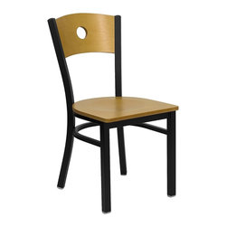 Flash Furniture - Hercules Restaurant Chair w Back - Set of 2 - Set of 2. Circle back style. 0.75 in. thick plywood seat. Natural finished wood seat. Curved support bar. 16 gauge steel frame. Plastic floor glides. Warranty: 2 year limited. Black powder coat frame finish. Assembly required. Back: 16.25 in. W x 16 in. H. Seat: 16.25 in. W x 16.5 in. D. Seat Height: 17.25 in. H. Overall: 21.5 in. W x 16.25 in. D x 32.75 in. H (15 lbs.)