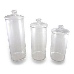 Zeckos - Set of 3 Decorative Glass Apothecary Jars - This set of glass apothecary jars adds a lovely accent to your home. You can fill it with most anything, from silk flowers to fake fruits or vegetables, colored sand or beans, marbles, home decor balls, silk plants, candy, cookies, soaps, candles, sea shells, the possibilities are limited only by your imagination Each jar measures 4.75 inches (12 cm) in diameter and the largest stands 14 inches (36 cm) tall, the middle jar is 12 inches (30 cm) tall, and the shortest is 10 inches (25 cm) tall. This set makes a lovely centerpiece for tables, mantels and shelves.