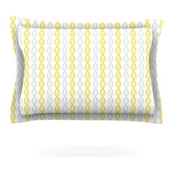 "Kess InHouse - Julie Hamilton ""Lemon Pod"" Yellow Gray Pillow Sham (Cotton, 30"" x 20"") - Pairing your already chic duvet cover with playful pillow shams is the perfect way to tie your bedroom together. There are endless possibilities to feed your artistic palette with these imaginative pillow shams. It will looks so elegant you won't want ruin the masterpiece you have created when you go to bed. Not only are these pillow shams nice to look at they are also made from a high quality cotton blend. They are so soft that they will elevate your sleep up to level that is beyond Cloud 9. We always print our goods with the highest quality printing process in order to maintain the integrity of the art that you are adeptly displaying. This means that you won't have to worry about your art fading or your sham loosing it's freshness."