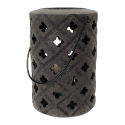 Kouboo - Lava Sand Lantern, Black - Formed and carved by hand this lantern adds ethnic flair to the outdoor area of your house. The glaze mimics the rough feel and dark appearance of lava stone. Outfitted with a glass holding a 3 inch diameter pillar candle like most outdoor lanterns it is perfectly suited for your deck, the side of you pool, your yard or the steps to a beachside cottage.
