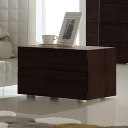 Sound Designer 2 Drawer Nightstand By Rossetto - Quiet elegance is at the heart of the Sound Designer 2 Drawer Nightstand, which features a warm wood finish and minimalist styling. A new timeless classic, the nightstand lends sophistication to any bedroom set.