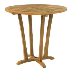 "Mandalay Bar Table - By Kingsley Bate - The MANDALAY bar set is a natural addition to the MANDALAY group. The bar table is 42"" round and will comfortably seat four. It has a 1-1/2"" umbrella hole and plug."