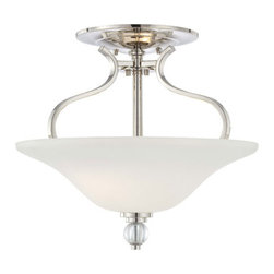 Minka-Lavery - Grahmton Polished Nickel Two-Light Semi-Flush with Etched White Glass and Eidolo - Grahmton Polished Nickel Two-Light Semi Flush Mount with Etched White Glass and Eidolon Krystal Accent Minka-Lavery - 4482-613