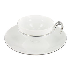 Mono - Gemiini Collection Teacup with Saucer, 2 Piece Set - There's no substitute for sensational design. Ergo, this sleek porcelain and stainless steel teacup and saucer are positively not to be missed — during breakfast, brunch or teatime.